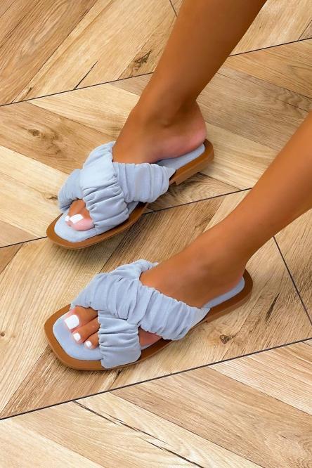 Sandales Femmes Croisées Suédine Ciel / Réf : 3516-7