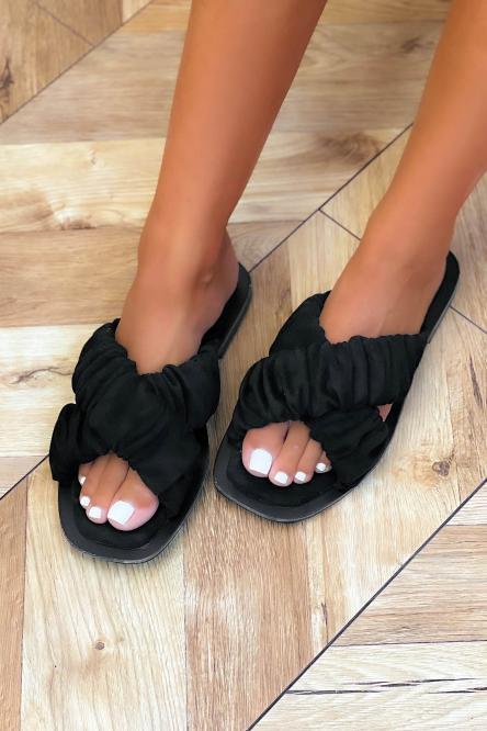 Sandales Femmes Croisées Suédine Noir / Réf : 3516-0