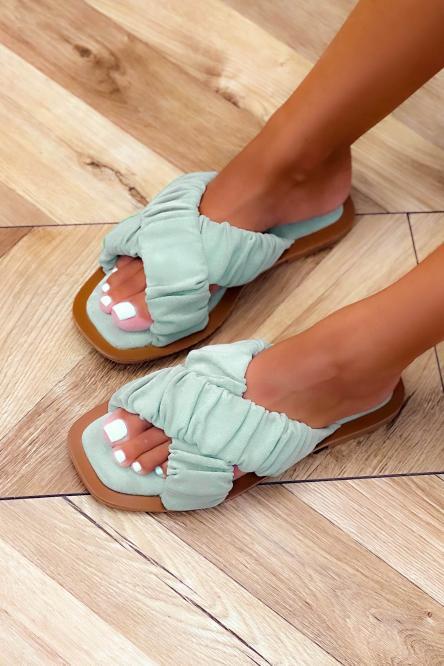 Sandales Femmes Croisées Suédine Vert Clair / Réf : 3516-17