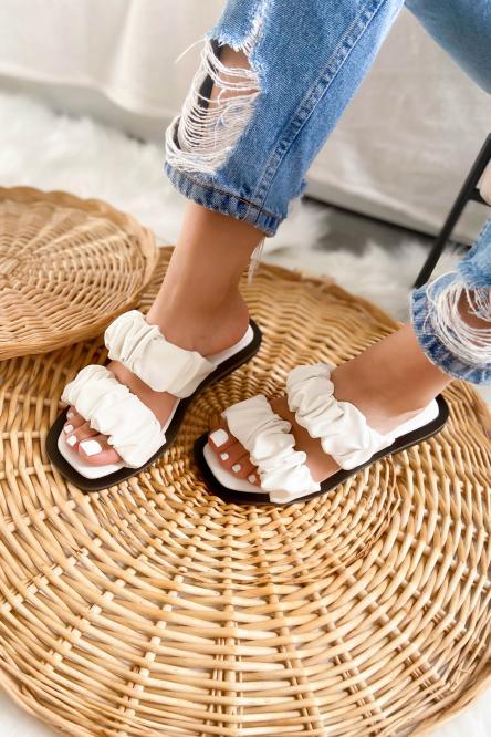 Sandales Femmes Froncées Simili Blanc / Réf : 3513-1