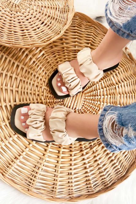 Sandales Femmes Froncées Simili Crème / Réf : 3513-24