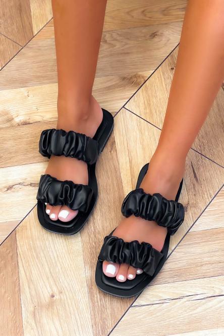Sandales Femmes Froncées Simili Noir / Réf : 3513-0
