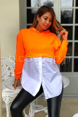 Sweat Chemise à Capuche Femme Orange