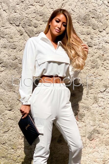Sweat Femme Zip Blanc / Réf : 2055
