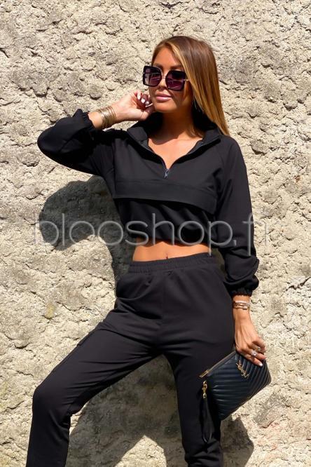 Sweat Femme Zip Noir / Réf : 2055