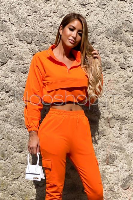 Sweat Femme Zip Orange / Réf : 2055