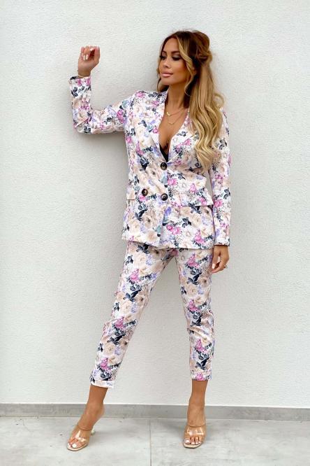 Tailleur Femme Blazer + Pantalon Fleuri Beige / Réf : 8316-2