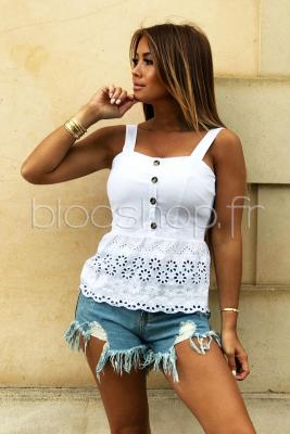 Top Bas Broderie Femme Blanc