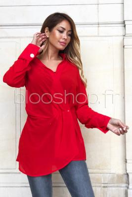 Top Cache Coeur Femme Rouge