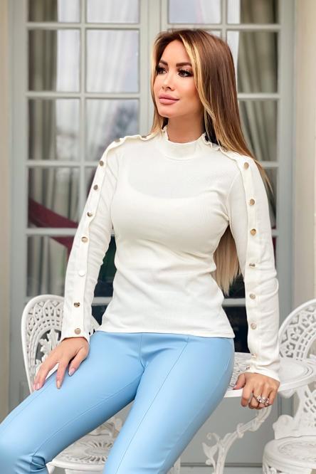 Top Femme Boutonné Blanc / Réf : 8858-1