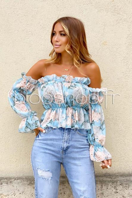 Top Femme Fleuri Bardot Bleu / Réf : 9150