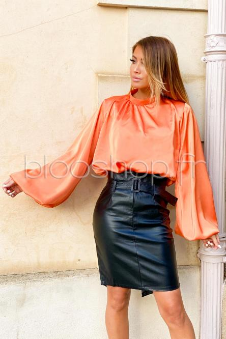 Top Femme Satin Manches Bouffantes Orange