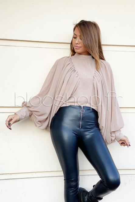 Top Femme Voile Manches Larges Beige