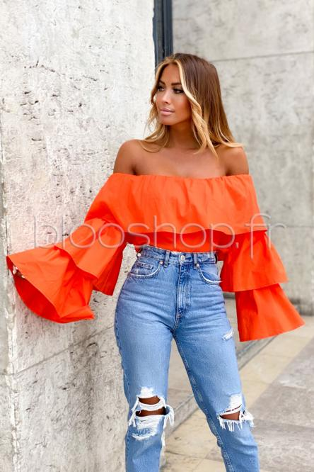 Top Femme Volants Bardot Orange