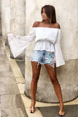 Top Manches Larges Femme Blanc