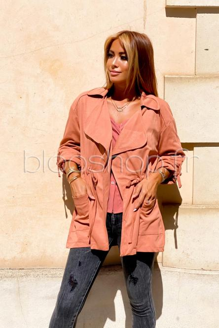 Woman Trench Terracotta