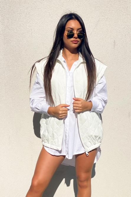 Veste Femme Sans Manches Matelassée Blanc / Réf : 8157-1