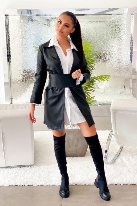 Veste Femme Simili + Ceinture Noir / Réf : 8255-0