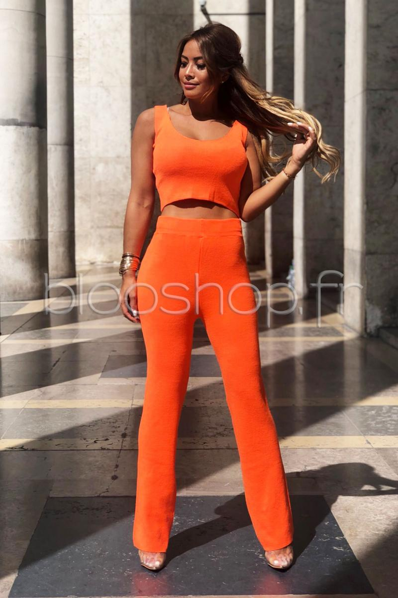 Ensemble Crop Top + Pantalon Maille Femme Orange / Réf : 6779