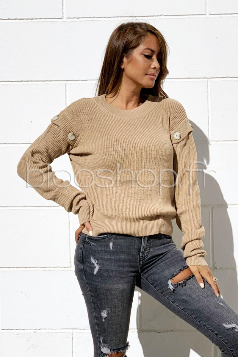 Pull Manches Boutons Femme Beige / Réf : 7066