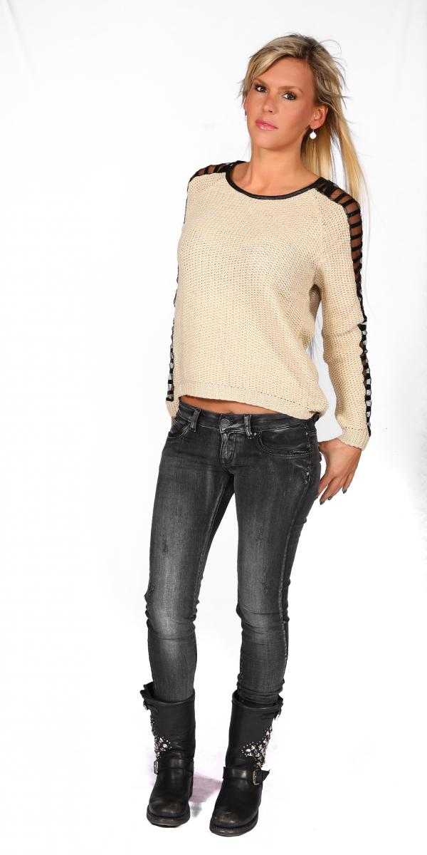 Pull manches tulle + cuir ( Ref: 91)