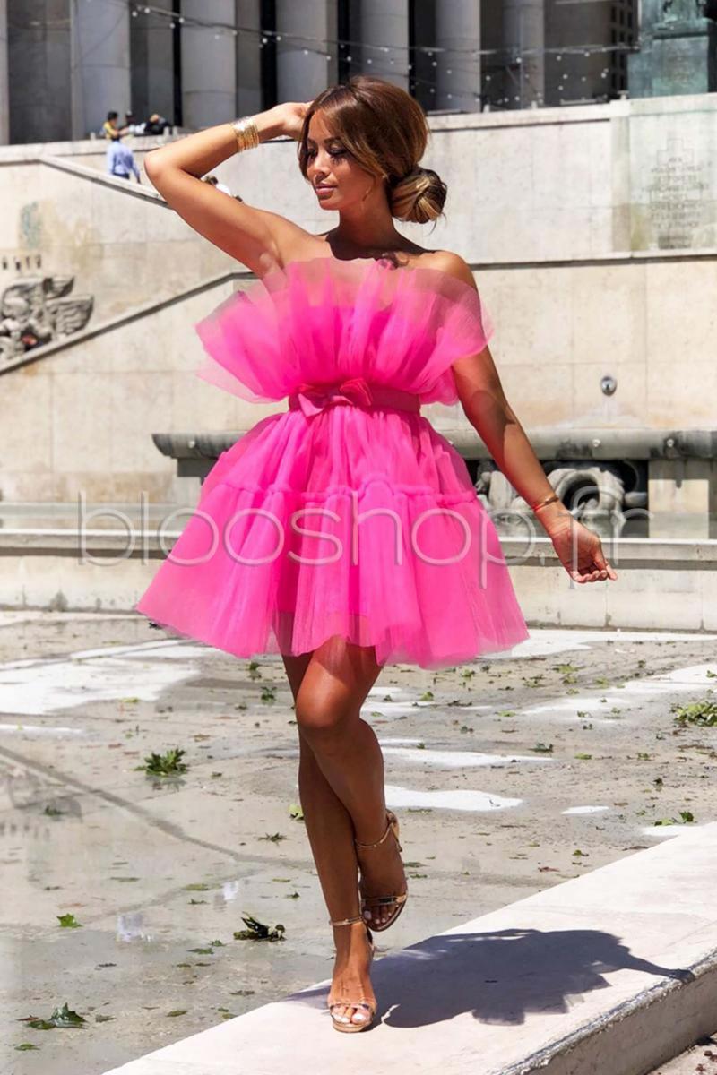 Réf3368 Blooshop Secrète Tulle Rose Femme Robe SzMpVqU