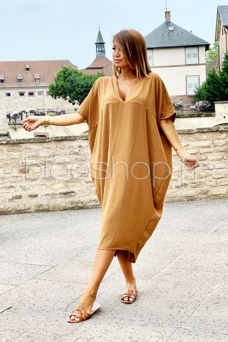 Femme Blooshop Ample Réf6235 Robe V Camel GMVSzpLqU