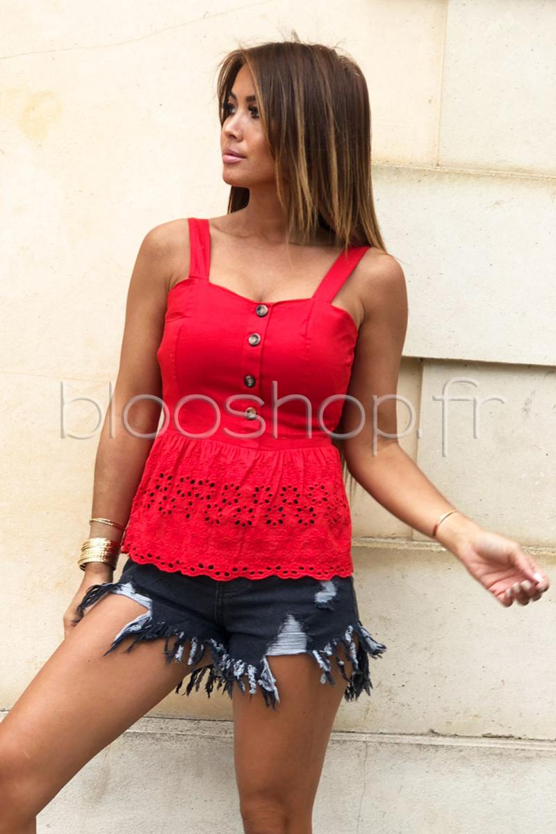 Top Bas Broderie Femme Rouge / Réf : 5164